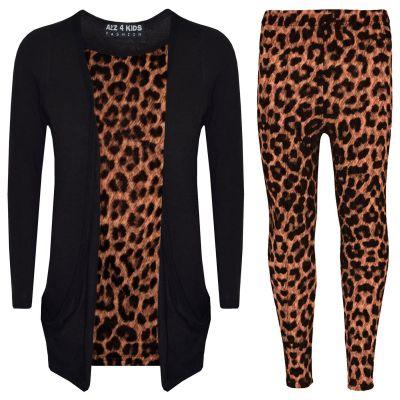 A2Z Trendz Girls Top Kids Leopard Print Stylish Cardigan & Fashion Legging Set New Age 7 8 9 10 11 12 13 Years