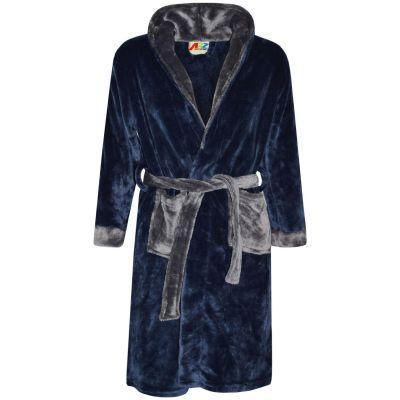 A2Z Trendz Kids Girls Boys Bathrobes Designer Plain Navy Hooded Soft Short Dressing Gown Nightwear Loungewear Age 2-13 Years