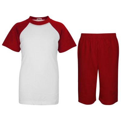 A2Z Trendz Kids Girls Boys Pyjamas Set Plain Red Contrast Color Short Sleeves T Shirt Top & Knee Length Shorts Sleepwear Summer Outfit Sets Nightwear PJS New Age 2 3 4 5 6 7 8 9 10 11 12 13 Years