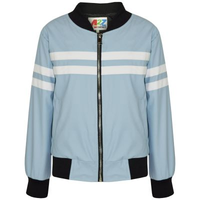 A2Z Trendz Kids Boys PU Leather Jackets Contrast Striped Blue Zip Up Mock Neck Varsity Baseball Fashion School Jacket Bikers Coats