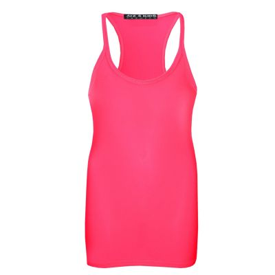 A2Z Trendz Kids Girls Racer Back Vest Top Designer's Neon Pink Fashion Tank Tops T Shirts New Age 5 6 7 8 9 10 11 12 13 Years