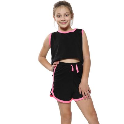 A2Z Trendz Kids Girls Shorts Set 100% Cotton Contrast Taped Trendy Fashion Summer Black & Neon Pink T Shirt Top And Hot Short Pants Outfit Set New Age 5 6 7 8 9 10 11 12 13 Years
