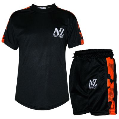 A2Z Trendz Kids Boys T Shirt Shorts A2Z Project Print Orange Camouflage Panelled Top Summer Shorts Set Age 5 6 7 8 9 10 11 12 13 Years