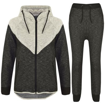 A2Z Trendz Kids Tracksuit Boys Girls Designer's Grey Contrast Panel Zipped Top Hoodie & Botom Jogging Suit Joggers Age 7 8 9 10 11 12 13 Years