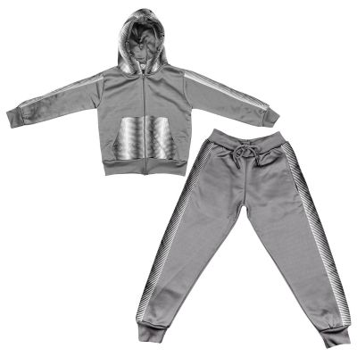 A2Z Trendz Kids Girls Boys Tracksuit Designer's Zebra Print Panelled Steel Grey & White Fleece Hooded Hoodie Top Bottom Workout Jogging Suit Gymwear Age 5 6 7 8 9 10 11 12 13 Years