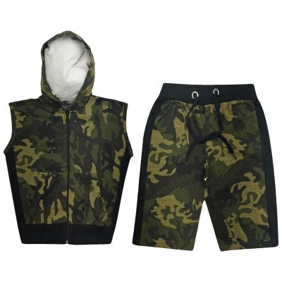 A2Z Trendz Kids Girls Boys Shorts Set 100% Cotton Camouflage Green Contrast Panelled Trendy Fashion Gilet Top & Short Pants Sportswear Outfit Clothing Sets New Age 5 6 7 8 9 10 11 12 13 Years
