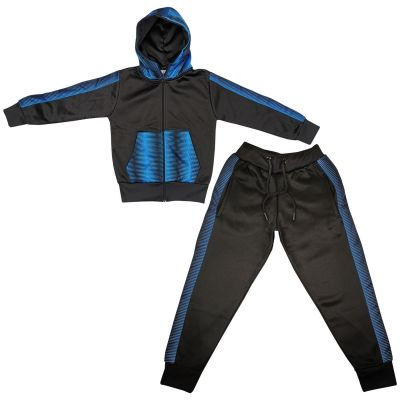 A2Z Trendz Kids Girls Boys Tracksuit Designer's Zebra Print Panelled Black & Blue Fleece Hooded Hoodie Top Bottom Workout Jogging Suit Gymwear Age 5 6 7 8 9 10 11 12 13 Years