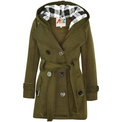 A2Z Trendz Kids Girls Parka Jacket Hooded Trench Coat Fashion Wool Blends Warm Padded Olive Jacket Oversized Lapels Belted Cuffs Long Overcoat New Age 5 6 7 8 9 10 11 12 13 Years