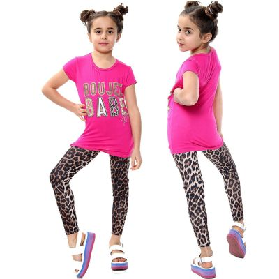 Girls Outfits Boujee Babe Print Pink Top Tees & Leopard Legging Sets.