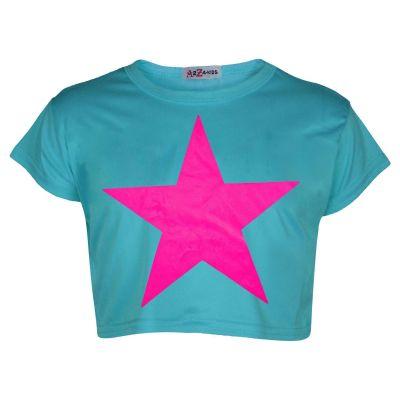 A2Z Trendz Kids Girls Crop Top Designer Star Print Turquoise Stylish Trendy Fashion T Shirt Tops New Age 5 6 7 8 9 10 11 12 13 Years