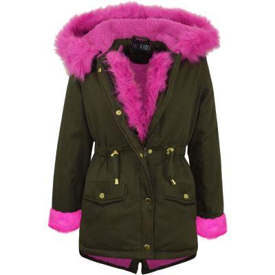 A2Z Trendz Kids Girls Jacket Designer Cerise Pink Faux Fur Hooded Parka School Jackets Outwear Coats New Age 5 6 7 8 9 10 11 12 13 Years