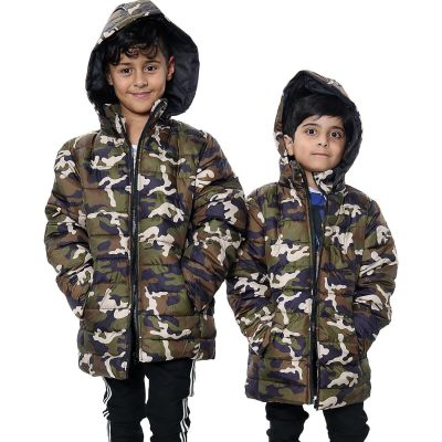Kids Boys Jacket Camouflage Green Hooded Padded Quilted Jackets Warm Thick Coats.
