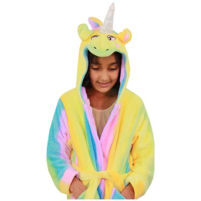A2Z Trendz Kids Girls Bathrobes Designer's 3D Animal Rainbow Unicorn Hooded Soft Short Fleece Dressing Gown Nightwear Loungewear Age 2-13 Years