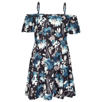 A2Z Trendz Girls Skater Dress Kids Black Floral Print Summer Party Fashion Off Shoulder Dresses New Age 7 8 9 10 11 12 13 Years