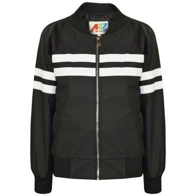 A2Z Trendz Kids Boys PU Leather Jackets Contrast Striped Black Zip Up Mock Neck Varsity Baseball Fashion School Jacket Bikers Coats New Age 5 6 7 8 9 10 11 12 13 Years