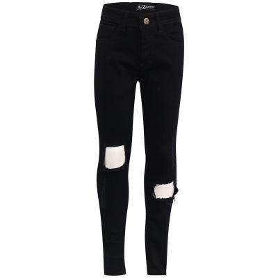 Kids Girls Slim Fit Jet Black Ripped Denim Jeans