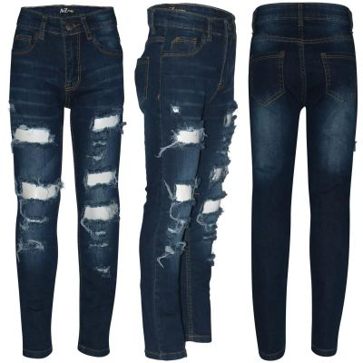 Kids Boys Stretchy Jeans Dark Blue Ripped Denim Skinny Bikers Pants Slim Trouser
