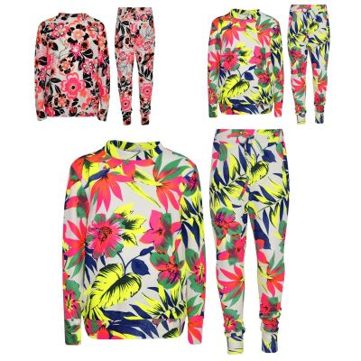 A2Z Trendz Kids Girls Tracksuit Neon Floral Neon Tropical Print Lounge Suit Bottom Joggers Leggings New Age 7 8 9 10 11 12 13 Years