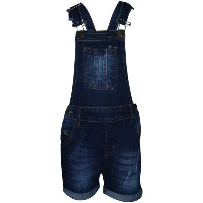 A2Z Trendz Kids Girls Dungaree Shorts Designer's Dark Blue Denim Ripped Stretch Jeans Overall All In One Jumpsuit Playsuit Age 5 6 7 8 9 10 11 12 13 Years