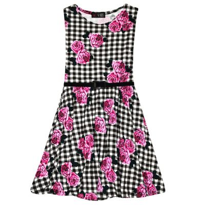 A2Z Trendz Girls Skater Dress Kids Check & Roses Print Summer Party Fashion Dresses With A Free Belt New Age 7 8 9 10 11 12 13 Years