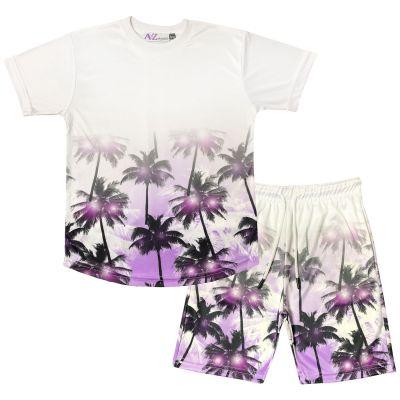 A2Z Trendz Kids Boys T Shirt Shorts Palm Trees 3D Gradient Print Fade Two Tone Tees Fashion Purple Top Summer Short Set Age 5 6 7 8 9 10 11 12 13 Years