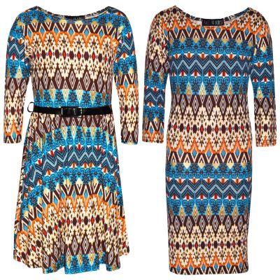 Kids Girls Skater Dress Royal Aztec Foil Print Party Fashion Midi Dresses Age 7 8 9 10 11 12 13 Years