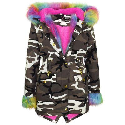 A2Z Trendz Kids Girls Jacket Designer's Camouflage Rainbow Faux Fur Hooded Parka School Jackets Outwear Coats New Age 2 3 4 5 6 7 8 9 10 11 12 13 Years
