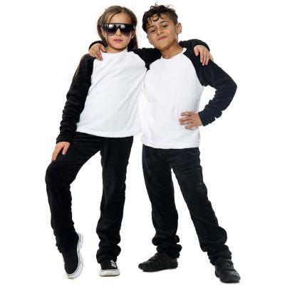 Kids Girls Boys Plain Pyjamas Black Loungewear Flannel Fleece Nightwear PJS.