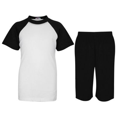 A2Z Trendz Kids Girls Boys Pyjamas Set Plain Black Contrast Color Short Sleeves T Shirt Top & Knee Length Shorts Sleepwear Summer Outfit Sets Nightwear PJS New Age 2 3 4 5 6 7 8 9 10 11 12 13 Years