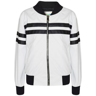A2Z Trendz Kids Girls Boys PU Jackets Contrast Striped White Zip Up Mock Neck Varsity Baseball Fashion School Jacket Bikers Coats New Age 5 6 7 8 9 10 11 12 13 Years