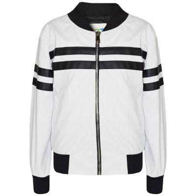 A2Z Trendz Kids Girls Boys PU Jackets Contrast Striped White Zip Up Mock Neck Varsity Baseball Fashion School Jacket Bikers Coats New Age 5 6 7 8 9 10 11 12 13 Years