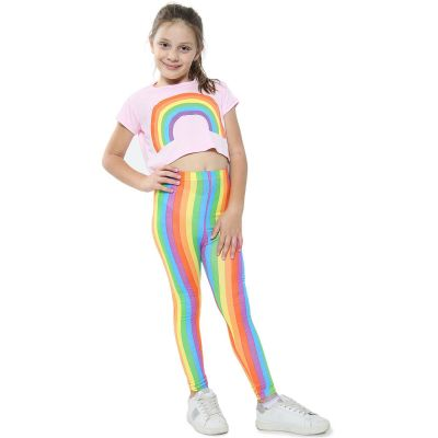 A2Z Trendz Kids Girls Crop Top Designer's Rainbow Print Baby Pink Tops Trendy Hip Hop Dance Floss Fashion Belly Shirt Trendy Short T Shirt Half Tees New Age 5 6 7 8 9 10 11 12 13 Years