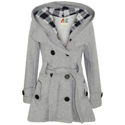 A2Z Trendz Kids Girls Parka Jacket Hooded Trench Coat Fashion Wool Blends Warm Padded Grey Jacket Oversized Lapels Belted Cuffs Long Overcoat New Age 5 6 7 8 9 10 11 12 13 Years