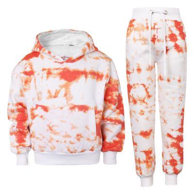 Kids Girls Tracksuit Tie Dye Print Fleece Orange Hooded Crop Top & Bottom Jogging Suit Joggers