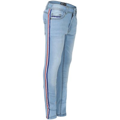 Kids Boys Denim Jeans Contrast Taped Light Blue Stretchy Pants Trouser 5-13 Year