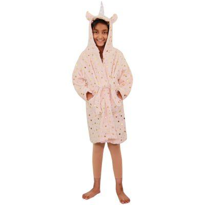 A2Z Trendz Kids Girls Bathrobes Designer's 3D Animal Unicorn Golden Stars Print Hooded Soft Short Fleece Dressing Gown Nightwear Loungewear Age 2-13 Years