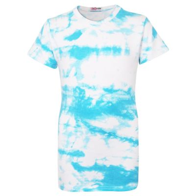 Girls Blue Tie Dye Print T Shirts