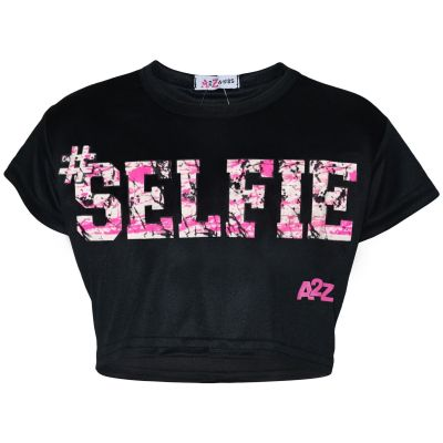 Kids Girls Crop Top #Selfie Black Trendy Floss Fashion Stylish Belly Shirt Tees