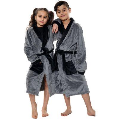 Kids Girls Boys Bathrobes Plain Grey Soft Dressing Gown Loungewear.