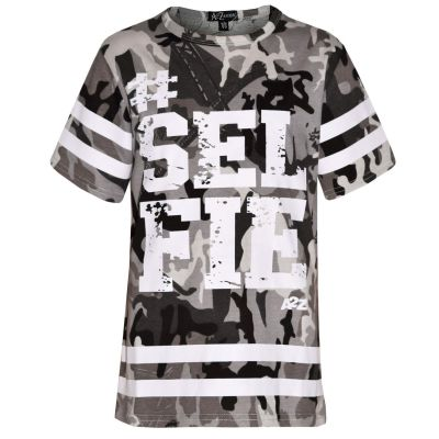 A2Z Trendz Girls Top Kids Designer's #Selfie Print Camouflage Fashion Trendy Charcoal T Shirt Top Age 5 6 7 8 9 10 11 12 13 Years