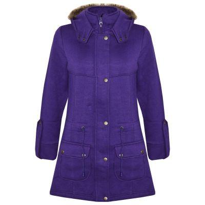 A2Z Trendz Kids Girls Coat Purple Fleece Parka Jacket Faux Fur Hooded Long Fashion Winter Coats Age 5 6 7 8 9 10 11 12 13 Years