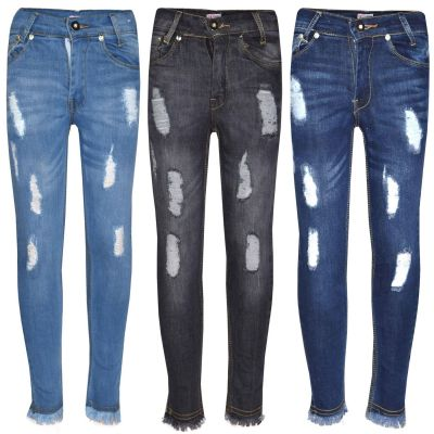 A2Z Trendz Girls Skinny Jeans Kids Designer's Denim Ripped Stretchy Rough Pants Fashion Frayed Jeggings Distressed Trousers Age 5 6 7 8 9 10 11 12 13 Years