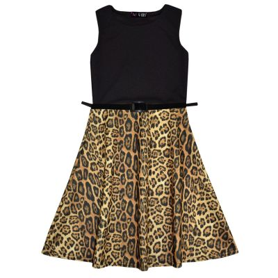 A2Z Trendz Girls Skater Dress Kids Designer's Leopard Contrast Panel Summer Party Dresses With A Free Belt New Age 7 8 9 10 11 12 13 Years