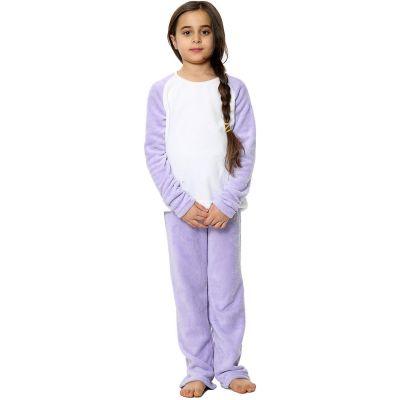 Kids Girls Boys Plain Pyjamas Lilac Loungewear Flannel Fleece Nightwear PJS.