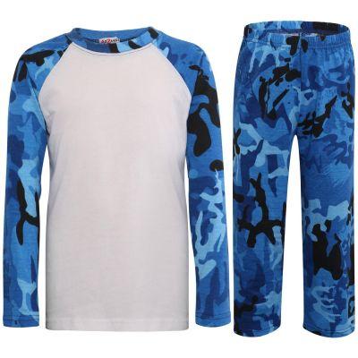 Kids Girls Boys Pyjamas Camouflage Blue Cotrast Sleeves Stylish Nightwear PJS.