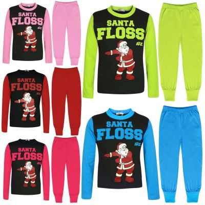 Kids Girls Boys Pyjamas Trendy Santa Floss Blue Xmas Gift Loungewear Pjs Outfits