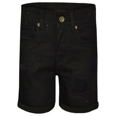 A2Z 4 Kdis Kids Boys Shorts Designer's Jet Black Denim Ripped Chino Bermuda Jeans Shorts Casual Knee Length Half Pant New Age 5-13 Years