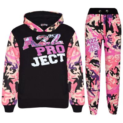A2Z Trendz Girls Tracksuit Kids Designer's A2Z Camouflage Print Baby Pink Zipped Top Hoodie & Botom Jogging Suit Age 5 6 7 8 9 10 11 12 13 Years