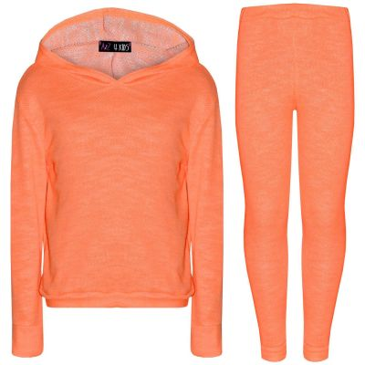 A2Z Trendz Kids Girls Tracksuits Designer's Plain Neon Orange Hooded Top Bottom Fashion Legging Set Loungewear Suit New Age 7 8 9 10 11 12 13 Years
