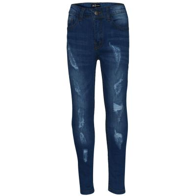 A2Z Trendz Boys Stretchy Jeans Kids Designer's Ripped Mid Blue Denim Skinny Pants Fashion Trousers Age 5 6 7 8 9 10 11 12 13 Years